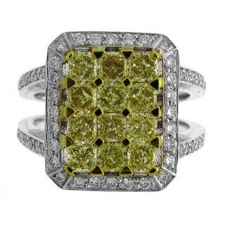 Azaro 18k Two-tone Gold 2 2/5ct TDW Yellow and White Diamond Fashion Ring (G-H, SI1-SI2)