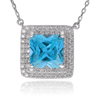 Journee Collection Sterling Silver Cubic Zirconia Square Pendant