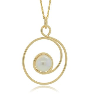 Journee Collection Sterling Silver Handmade Swirl Pearl Pendant