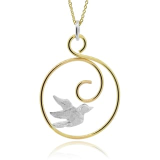 Journee Collection Goldfill Sterling Silver Handmade Bird Pendant