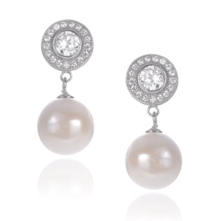 Journee Collection Sterling Silver Cubic Zirconia Dangle Pearl Earrings