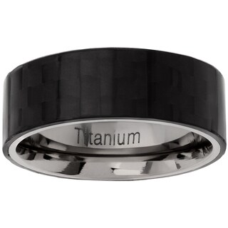 Men's Titanium Carbon Fiber Pipe-cut Checkerboard Wedding Band
