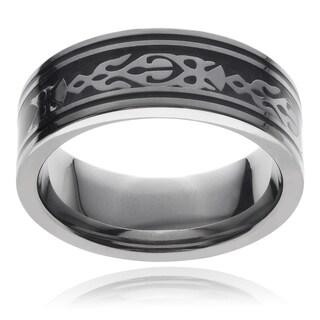 Vance Co. Men's Titanium Stainless Steel Tribal Design Black Carbon Fiber Ring (8 mm)