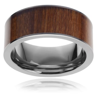 Vance Co. Men's Titanium Pipe-cut Hawaiian Koa Wood Inlay Ring (9 mm)