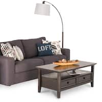 """WYNDENHALL Halifax Solid Wood 44 inch Wide Rectangle Transitional Coffee Table in Dark Brown - 44""""W x 22"""" D x 18.5"""" H"""