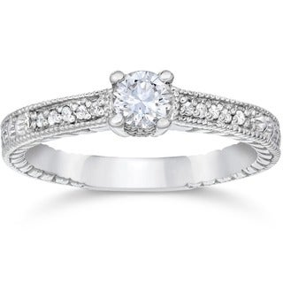 14k White Gold 1/2ct TDW Diamond Vintage Engagement Ring