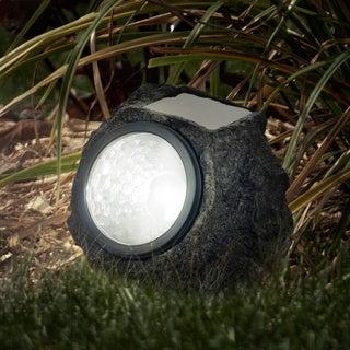 pure garden solar led rock landscaping lights set of 8