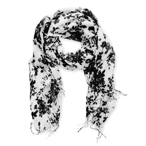 Peach Couture Vintage-Inspired Black Floral Print Scarf