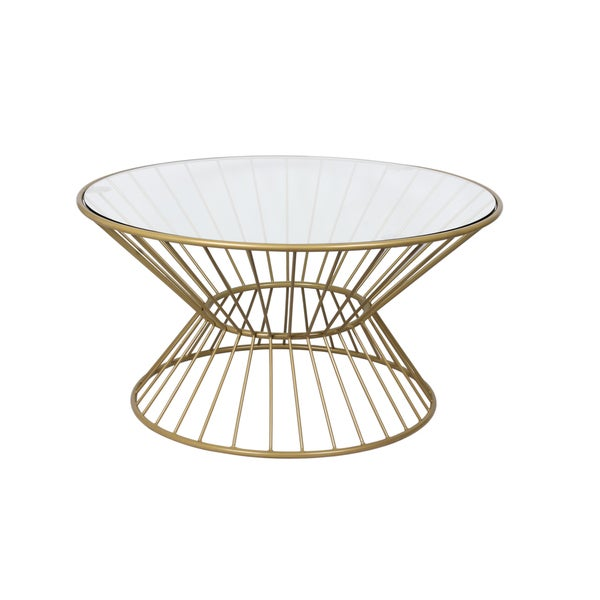 Bon Gold Wire Framed Glass Top Coffee Table