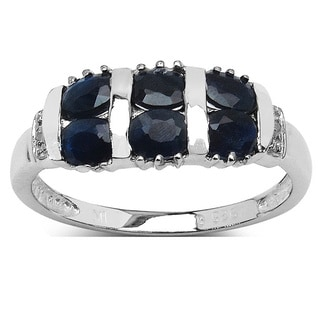 Olivia Leone 1 33 Carat Genuine Black Sapphire And White Topaz 925 Sterling Silver Ring