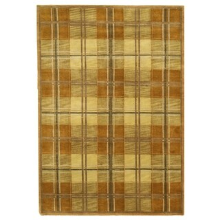 Hand-knotted Wool Brown Transitional Oriental Tartan Rug (6' x 8'7)