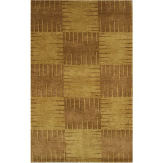 Hand-knotted Wool Brown Transitional Abstract Nepalese Squares Rug (5'10 x 9') - 6' x 9'