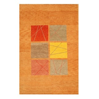 EORC Hand Knotted Wool Rust Gabbeh Rug (6' x 9'2)