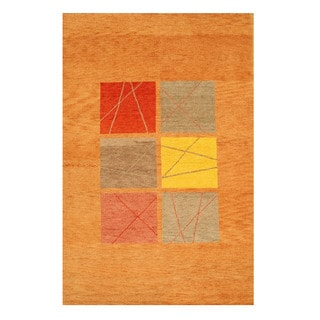Hand-knotted Wool Rust Transitional Tribal Gabbeh Rug (6' x 9'2) - 6' x 9'