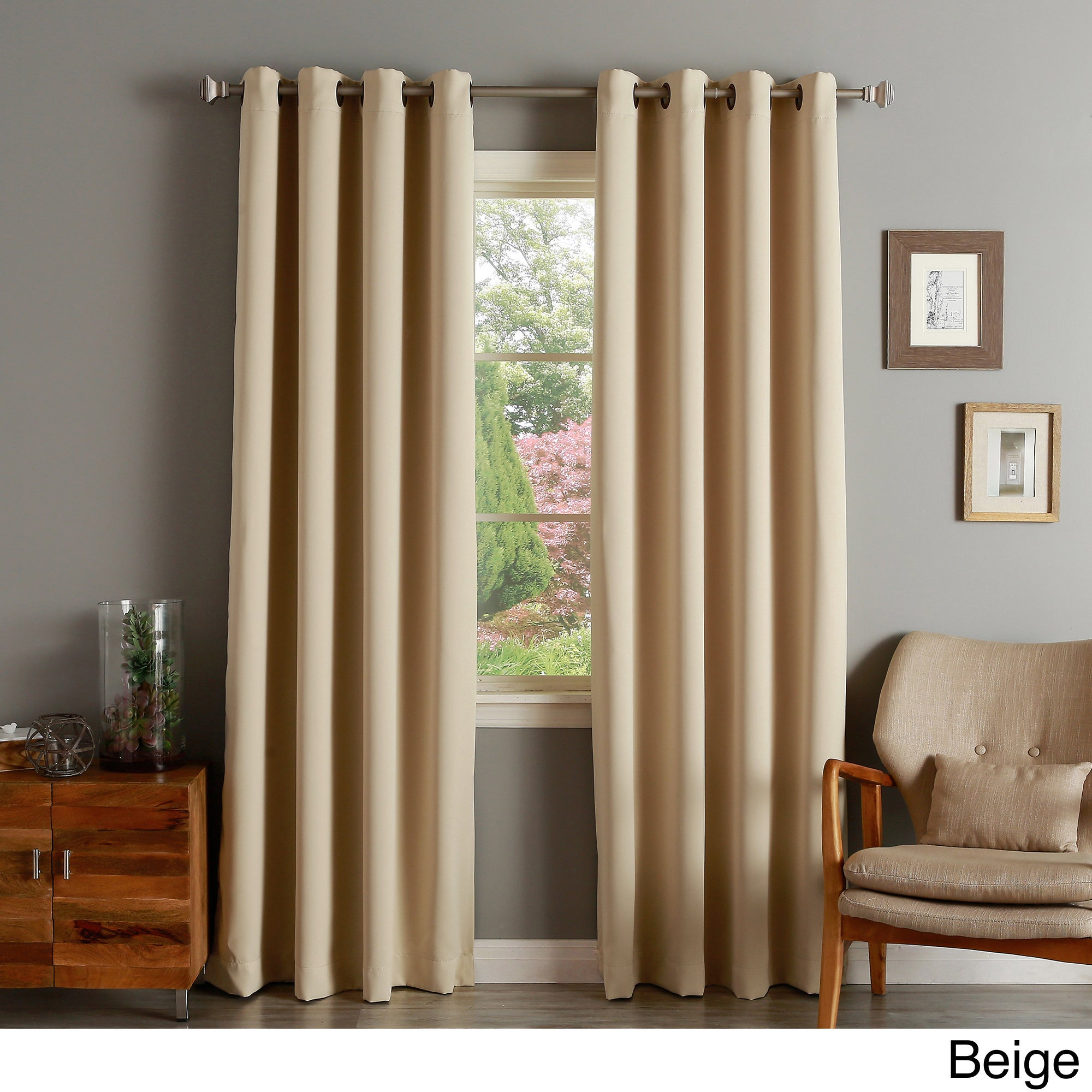 Aurora Home Thermal Insulated Blackout 90 Inch Grommet Top Curtain Panel  Pair   52 X