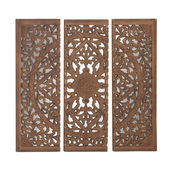 Shop Astounding Set Of 3 Wood Mirror Wall Panel Free