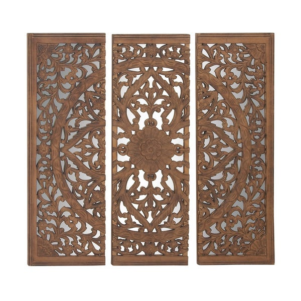 Astounding Set Of 3 Wood Mirror Wall Panel Free Shipping