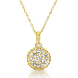14k Yellow Gold 3/8ct TDW Diamond Pave Circle Necklace