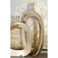 Contemporary 32 x 16 Inch Aluminum Open Oval Vase by Studio 350