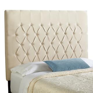 Humble + Haute Halifax Velvet Ivory Tall Diamond Tufted Upholstered Headboard