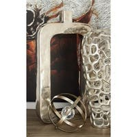 Contemporary 18 Inch Rectangular Silver Aluminum Vase by Studio 350