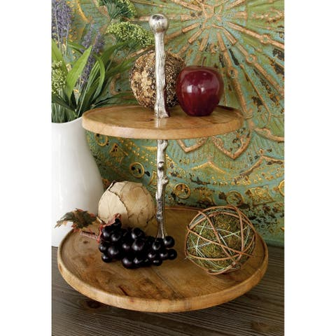 Modern 18 x 14 Inch Round Wood and Metal 2-tier Tray by Studio 350