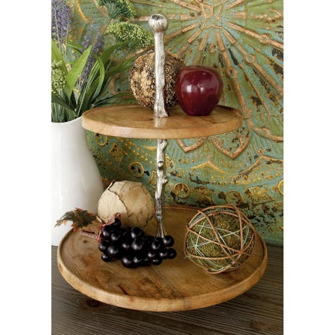 Fabulous Round Wood Metal 2-tier Tray