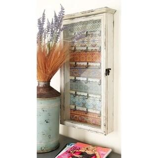 Vintage Styled Wood Glass Key Cabinet