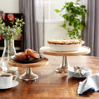Wood Metal Cake Plate (Set of 3)
