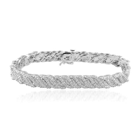 Divina Rhodium Overlay 1/2ct TDW Diamond Bracelet - White I-J