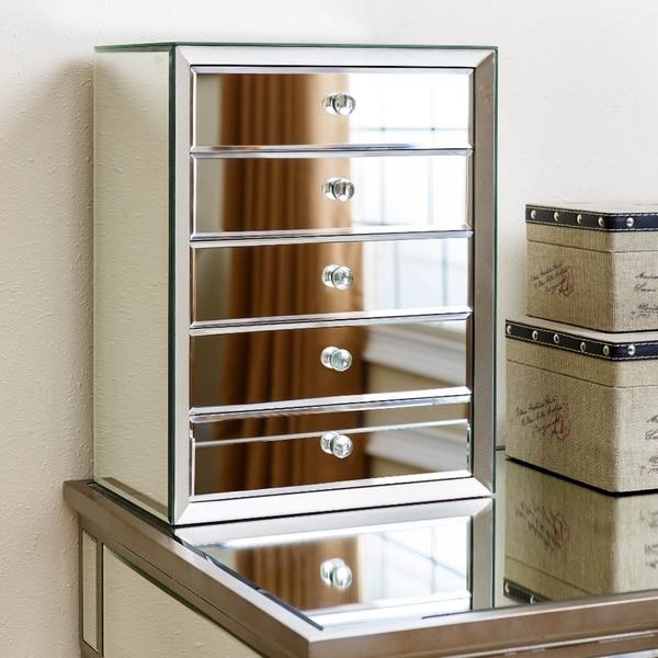 Shop Omni Mirrored 5 Drawer Jewelry Box By Abbyson Free