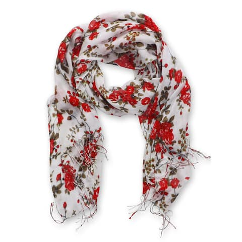 Peach Couture Vintage Inspired Floral Print Scarf
