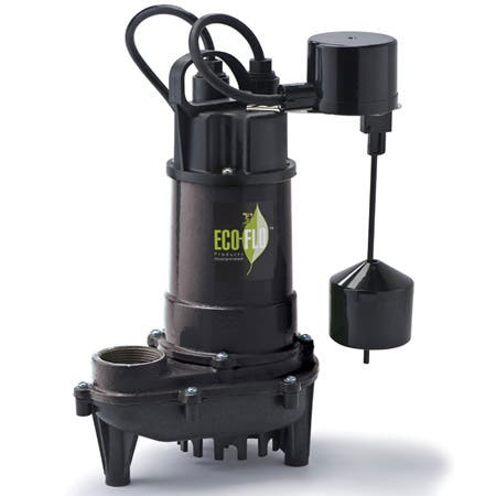 ECO-FLO ECD30V Cast Iron Submersible 3/10 HP 2700 GPH Sump Pump with Vertical Switch