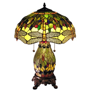 Zurie 16-inch Double-lit Green Dragonfly Table Lamp