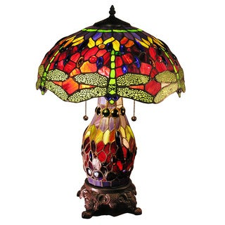 Zurie 16-inch Double-lit Red Dragonfly Table Lamp