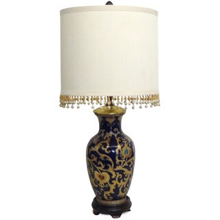Blue and Gold Scrolls Porcelain Table Lamp