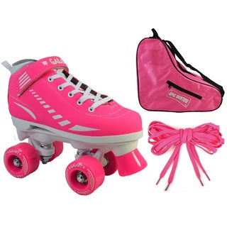 Epic Pink Galaxy Elite Quad Roller Skate 3-piece Bundle