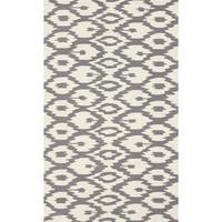 nuLOOM Handmade Modern Ikat Trellis Grey Rug (6' x 9') - (As Is Item)