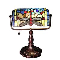 Warehouse of Tiffany Stella 12-inch Blue Dragonfly Accent Lamp
