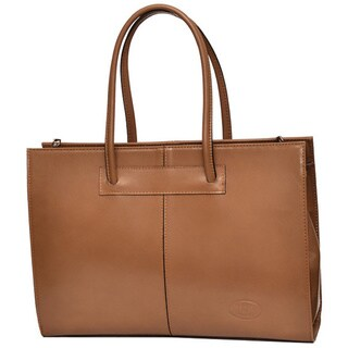 Deleite by Sharo Cafe Ole Italian Leather 16-inch Laptop Handbag/ Tote Bag