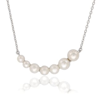 La Preciosa Sterling Silver Graduating Shell Pearl Curved Bar Necklace