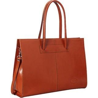 SHARO Apricot Italian Leather 16-inch Laptop Handbag/ Tote Bag