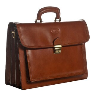 Sharo Genuine Italian Leather Apricot Brown 15-inch Laptop Briefcase
