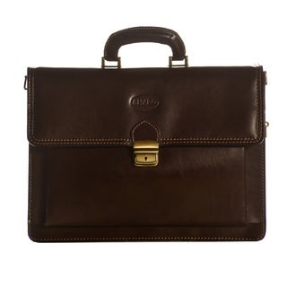 Sharo Dark Brown Genuine Italian Leather 15-inch Laptop Briefcase