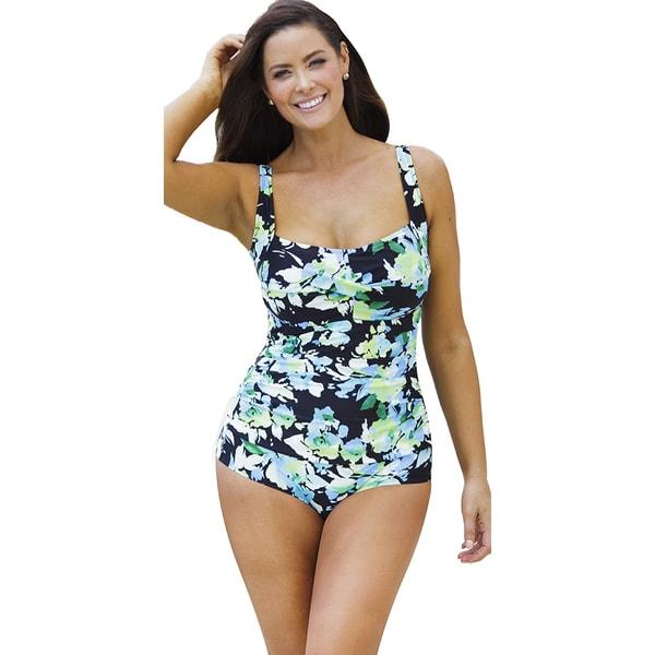 07b75ae97b78a Shop Beach Belle Women's Hawaiian Breeze Shirred One Piece Swimsuit ...