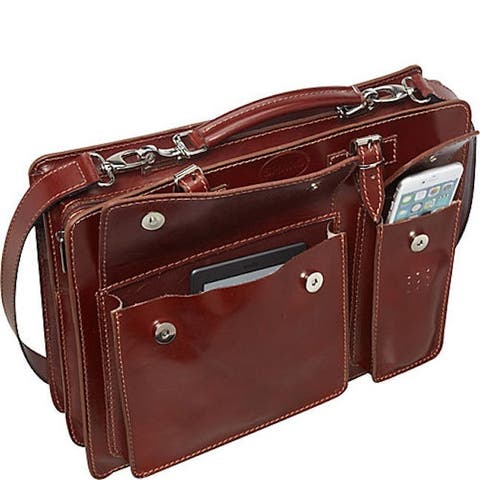 Sharo Raisen Brown Genuine Italian Leather 15-inch Laptop Briefcase