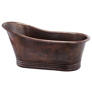 Premier Copper Products 67 Inch Hammered Copper Single Slipper Bathtub
