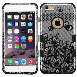 Insten Lace Flowers Tuff Hard PC/ Silicone Dual Layer Hybrid Rubberized Matte Phone Case Cover For Apple iPhone 6 Plus