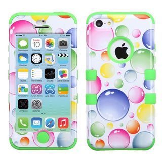 Insten Rainbow Bubbles Tuff Hard PC/ Silicone Dual Layer Hybrid Rubberized Matte Phone Case Cover For Apple iPhone 5C