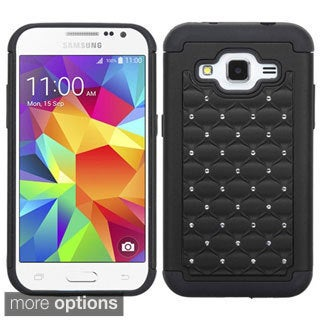 Insten Hard PC/ Silicone Dual Layer Hybrid Rubberized Matte Phone Case Cover with Diamond For Samsung Galaxy Core Prime